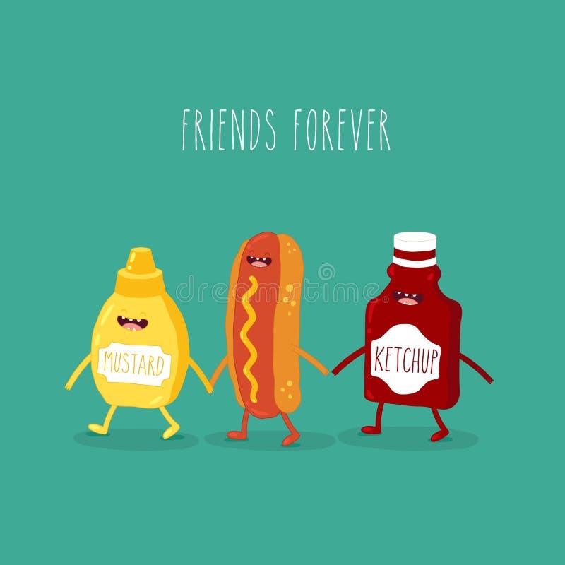 L'illustrazione vettoriale Alimenti veloci Amici per sempre Hot dog con buffa ketchup e senape fotografia stock