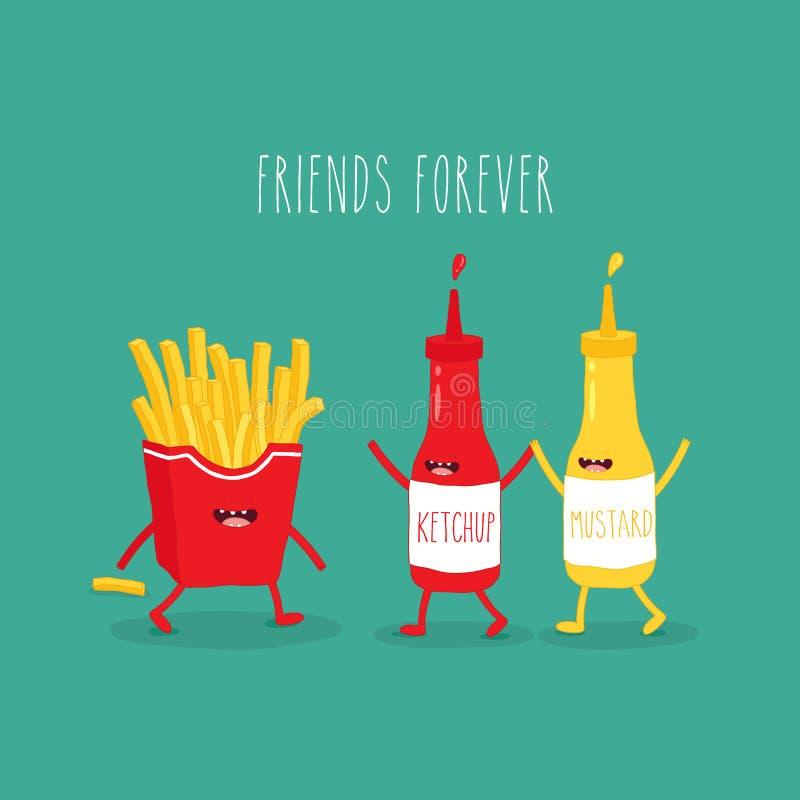 L'illustrazione vettoriale Alimenti veloci Amici per sempre patatine fritte con ketchup e senape divertenti fotografia stock