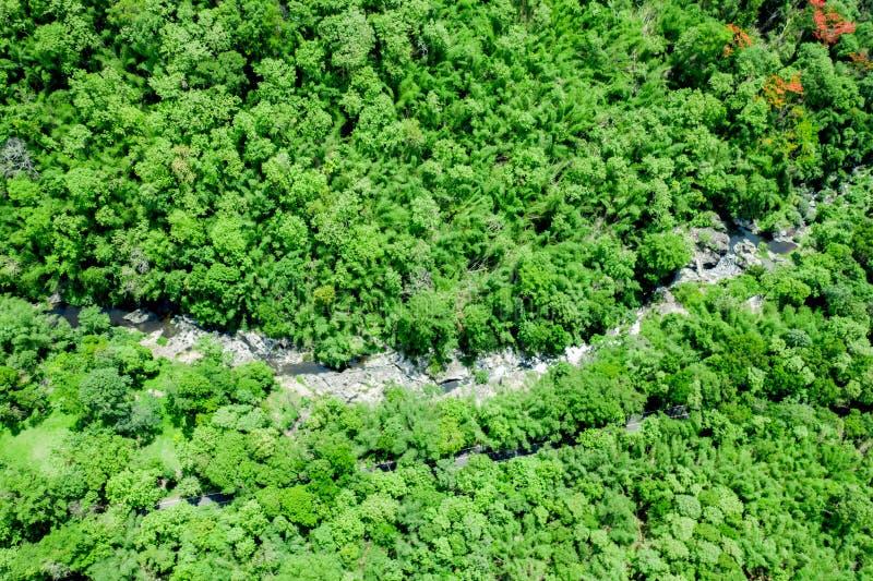 L'image aérienne d'une image courbe en parc national voit les arbres verts couverts dans tout le secteur au milieu, de roches photographie stock