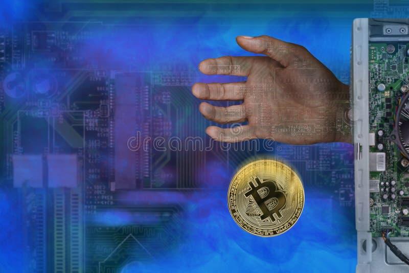 L'image abstraite de l'exploitation des bitcoins, la main d'ordinateur donne le bitcoin image stock