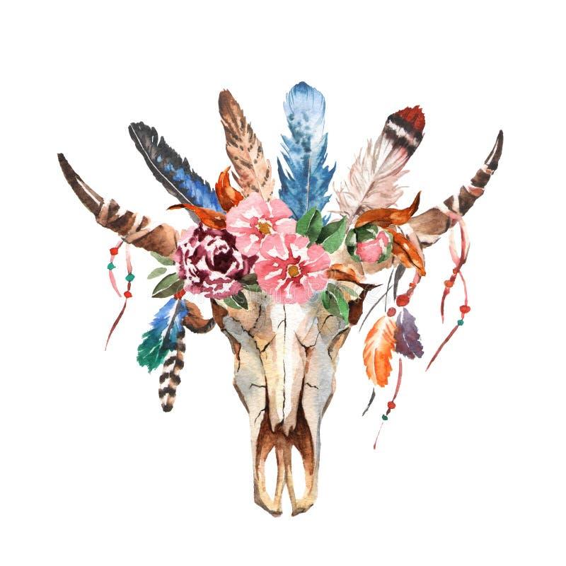 L'image chic de boho d'aquarelle fleurit, des plumes, éléments animaux illustration stock