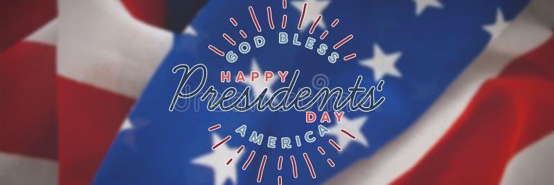 L'image composée d'un dieu bénissent l'Amérique Jour heureux de présidents typographie photographie stock libre de droits