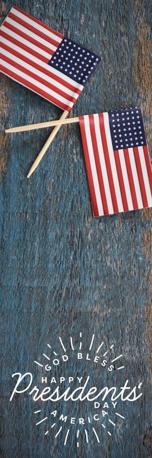 L'image composée d'un dieu bénissent l'Amérique Jour heureux de présidents typographie photo stock