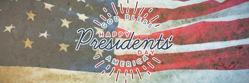 L'image composée d'un dieu bénissent l'Amérique Jour heureux de présidents typographie photographie stock