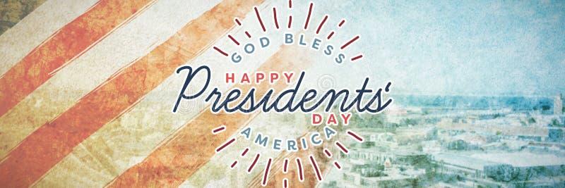 L'image composée d'un dieu bénissent l'Amérique Jour heureux de présidents typographie image libre de droits