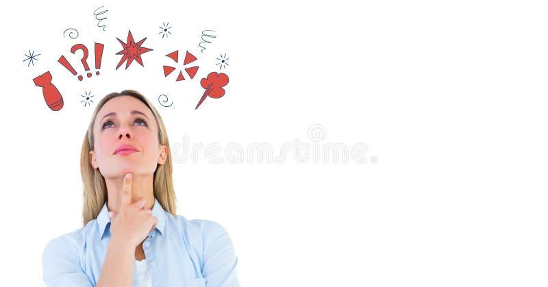 L'image composée de Digital d'une femme avec maudire gribouille image stock