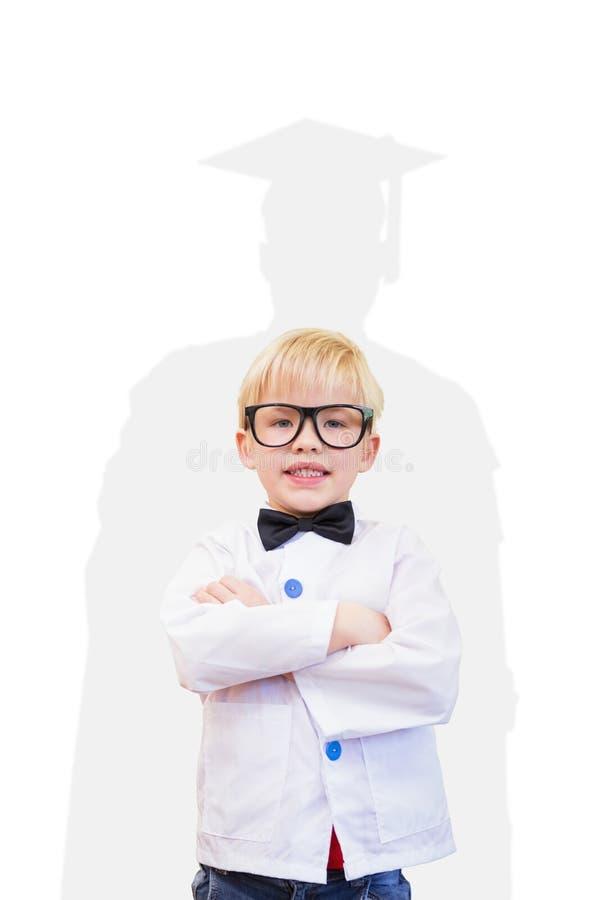 L'image composée de l'élève mignon s'est habillée comme professeur photos libres de droits