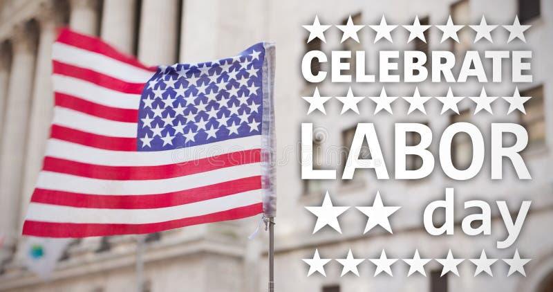 L'image composée de l'affiche de célèbrent le texte de Fête du travail image libre de droits