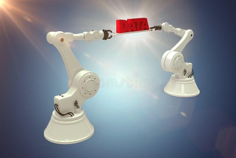 L'image composée de l'image digitalement composée des mains robotiques contenant des données rouges textotent illustration stock