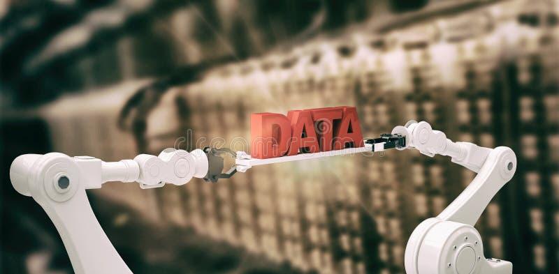 L'image composée de l'image digitalement composée des mains robotiques contenant des données rouges textotent illustration libre de droits