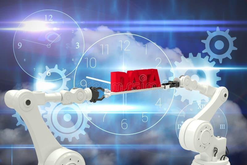 L'image composée de l'image digitalement composée des mains robotiques contenant des données rouges textotent illustration de vecteur