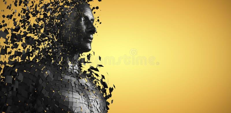 L'image composée de la vue de côté du noir numérique pixelated le mâle 3d illustration stock