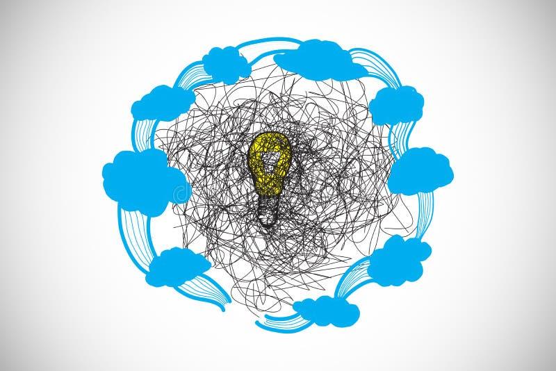 L'image composée du griffonnage au-dessus de l'ampoule avec des nuages gribouillent illustration de vecteur