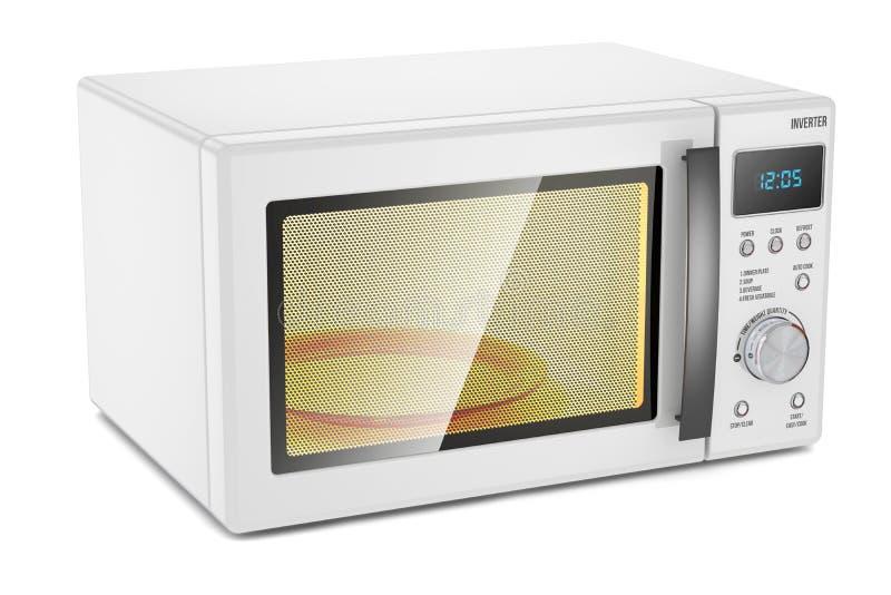 l'image concise de conception de backgrpund a isolé le blanc simple reconnaissable de four à micro-ondes Appareil électroménager illustration stock