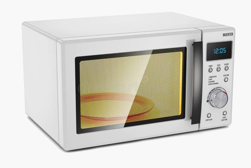 l'image concise de conception de backgrpund a isolé le blanc simple reconnaissable de four à micro-ondes Appareil électroménager illustration libre de droits