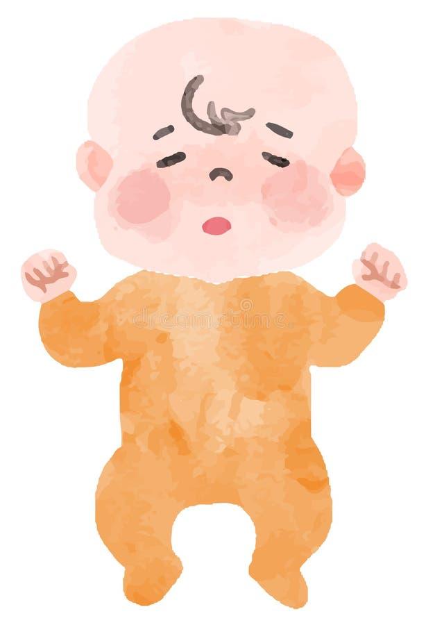 L'image d'un bébé avec la fièvre illustration de vecteur