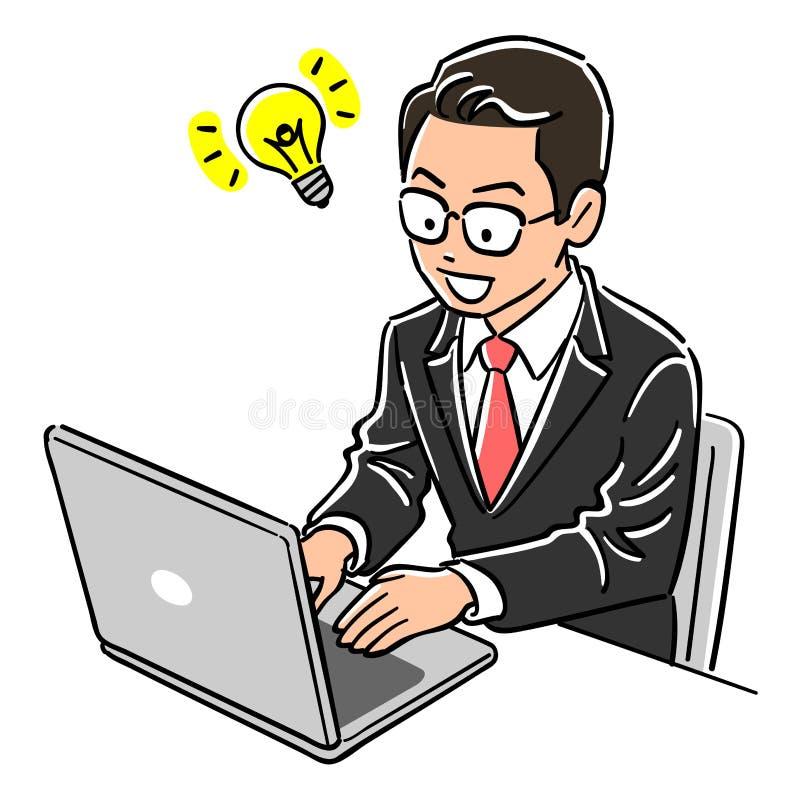 L'image d'un ordinateur portable fonctionnant d'homme de directeur, inspiration image stock