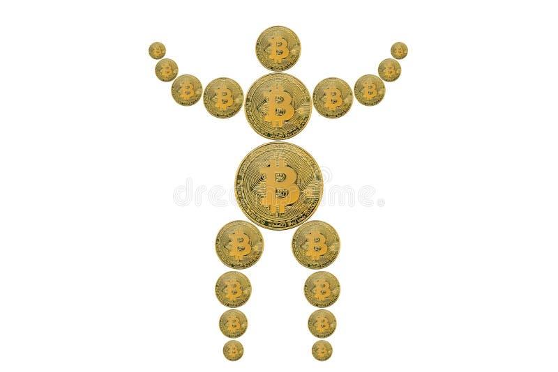 L'image de concept du mannequin ou du muet de l'homme s'est rassemblée des pièces de monnaie de cryptocurrency de bitcoin Fond bl image stock