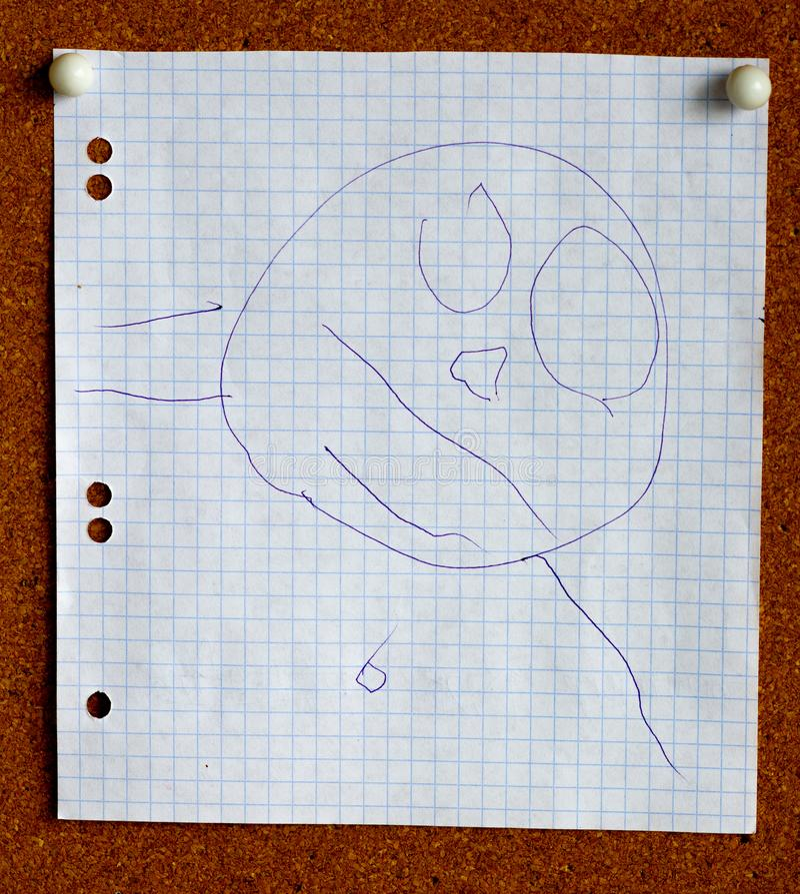 L'image de dessin du visage a fait par trois années d'enfant illustration stock