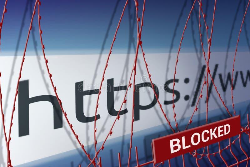 L'image de la barre d'adresse du site Web bloque la barrière avec le barbelé - concept de censure d'Internet photographie stock libre de droits