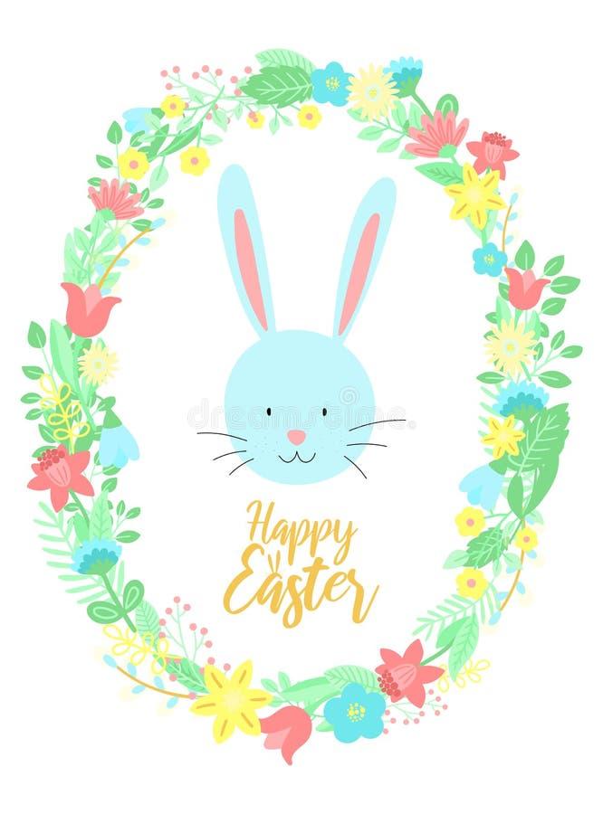L'image de vecteur d'un lapin bleu drôle en fleurs tressent avec une inscription Illustration tirée par la main de Pâques d'un la illustration libre de droits