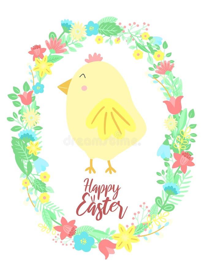 L'image de vecteur d'un poussin drôle et les fleurs tressent avec une inscription Illustration tirée par la main de Pâques de pou illustration libre de droits