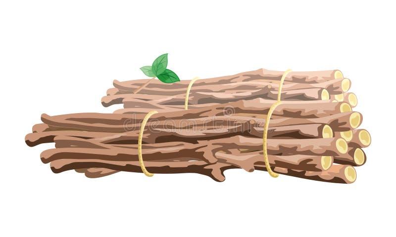 L'image de vecteur montre la pile brune de branches liée avec la corde illustration libre de droits