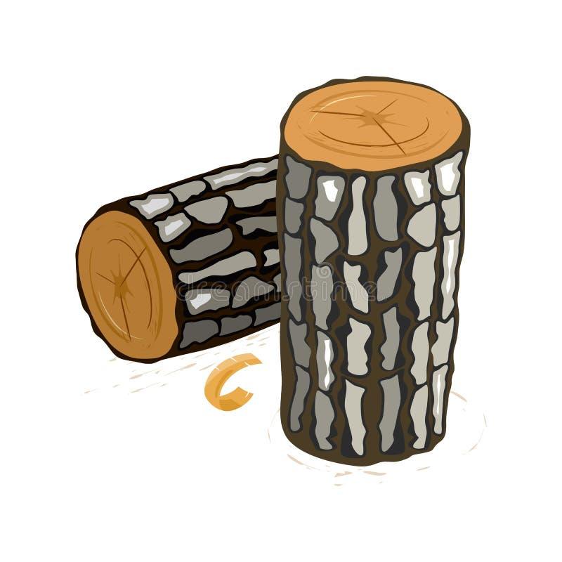 L'image de vecteur montre les rondins bruns avec la bande dessinée grise d'écorce illustration de vecteur