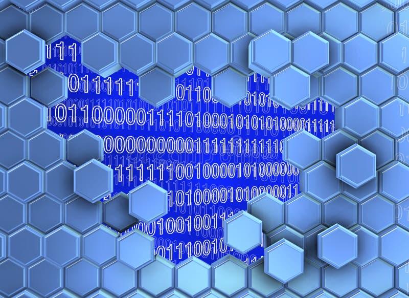 L'image des hexagones bleuâtres murent cassé par l'ère numérique illustration libre de droits