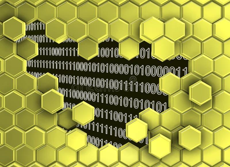 L'image des hexagones d'or murent cassé par l'ère numérique illustration stock