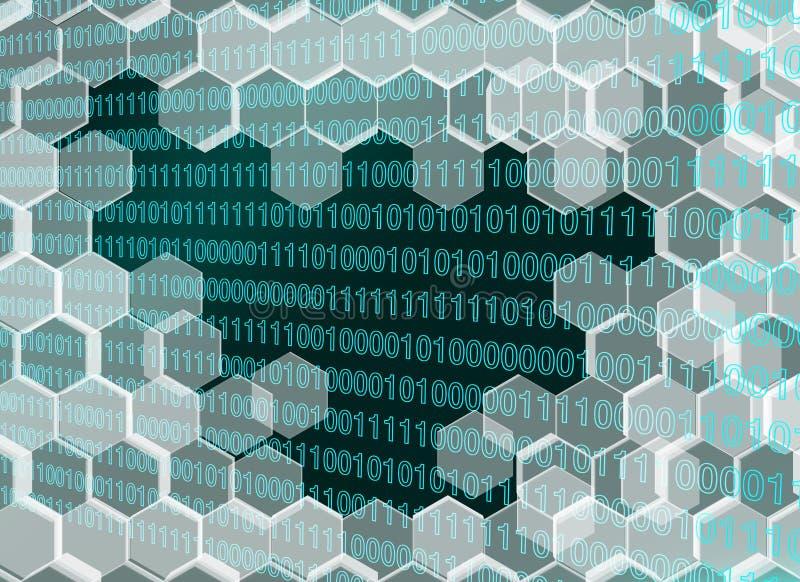 L'image des hexagones transparents bleuâtres murent cassé par l'ère numérique illustration de vecteur