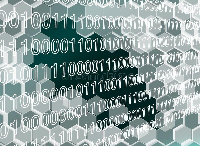 L'image des hexagones transparents murent cassé par l'ère numérique illustration libre de droits