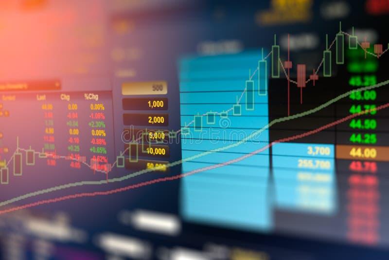L'image du graphique de gestion et du moniteur du commerce de l'investissement dans le commerce d'or, marché boursier, marché à t image libre de droits
