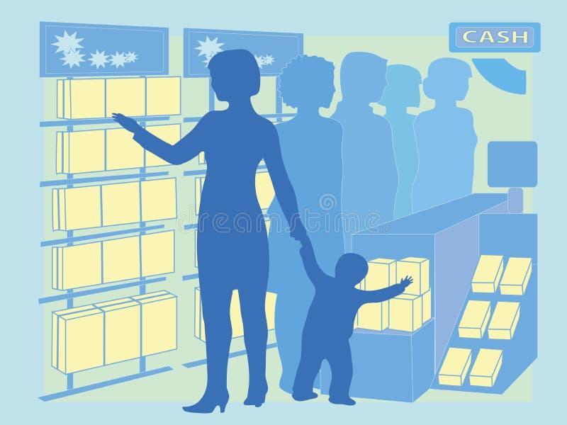 L'image en tant qu'acheteur fait un achat d'impulsion d'un produit illustration libre de droits