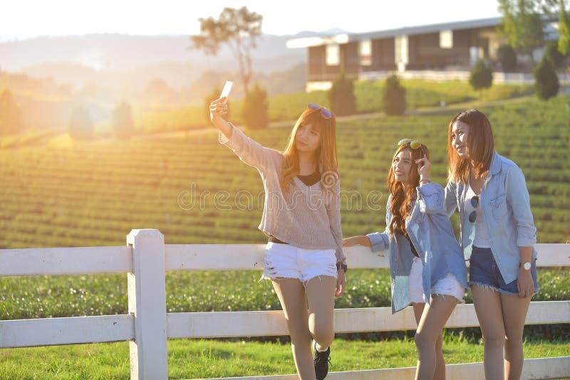L'image ensoleillée des filles de meilleur ami prenant le selfie a avancé image libre de droits