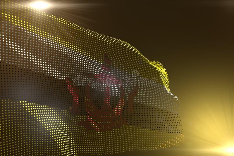 L'image moderne merveilleuse du drapeau du Brunei Darussalam a fait des points ondulant sur jaune avec l'endroit vide pour votre  illustration de vecteur