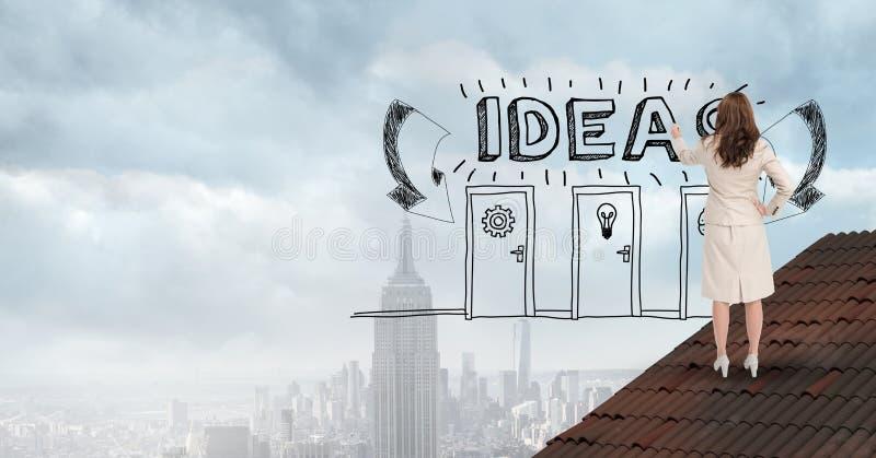 L'image numérique des idées d'écriture de femme d'affaires textotent et des portes sur l'air illustration stock