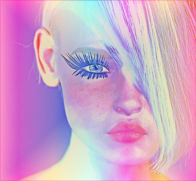 L'image numérique moderne d'art du visage d'une femme, se ferment avec le fond abstrait coloré illustration stock