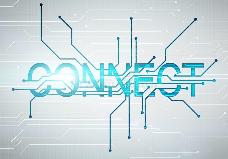 L'image numérique relient le concept de mot à la puce de circuit illustration libre de droits