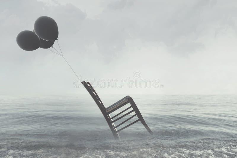 L'image surréaliste d'une chaise s'est tenue dans l'équilibre en pilotant les ballons noirs photographie stock