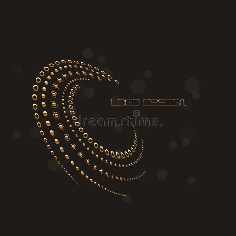 L'image tramée circulaire abstraite pointille la forme en or, backgr noir de couleur illustration de vecteur