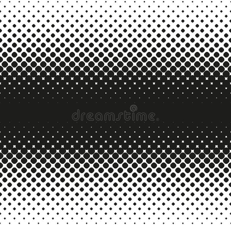 L'image tramée sans couture horizontale de grandes places arrondies diminue au bord, sur le blanc Fond tramé Contrasty Vecteur illustration de vecteur