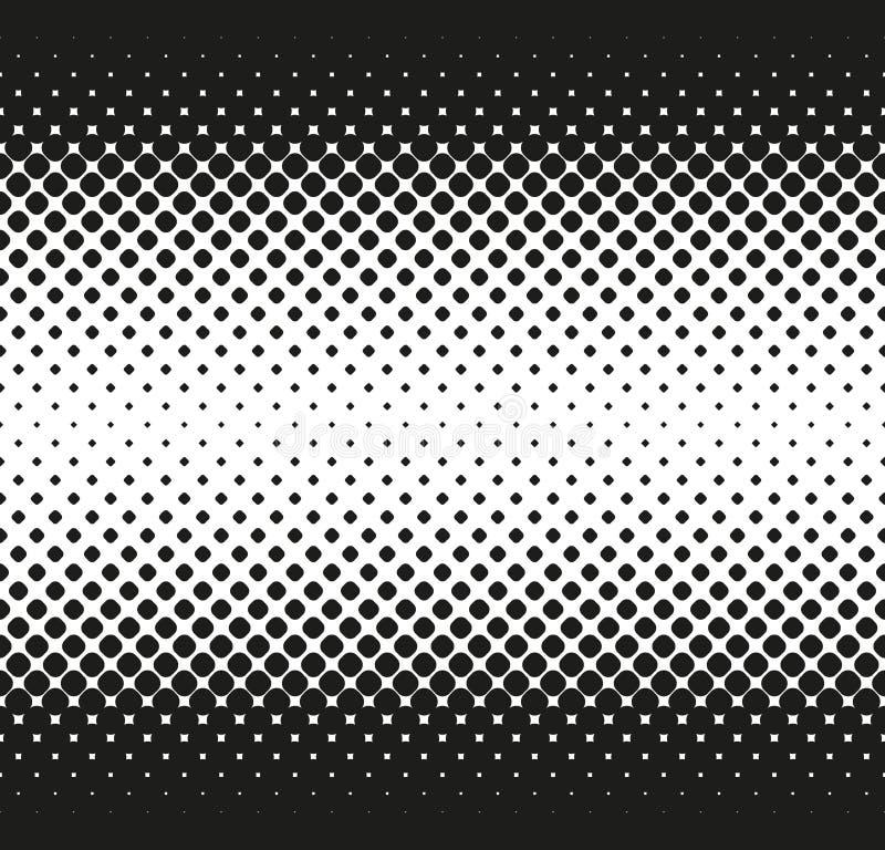 L'image tramée sans couture horizontale de grandes places arrondies diminue au centre, sur le blanc Fond tramé Contrasty Vecteur illustration stock