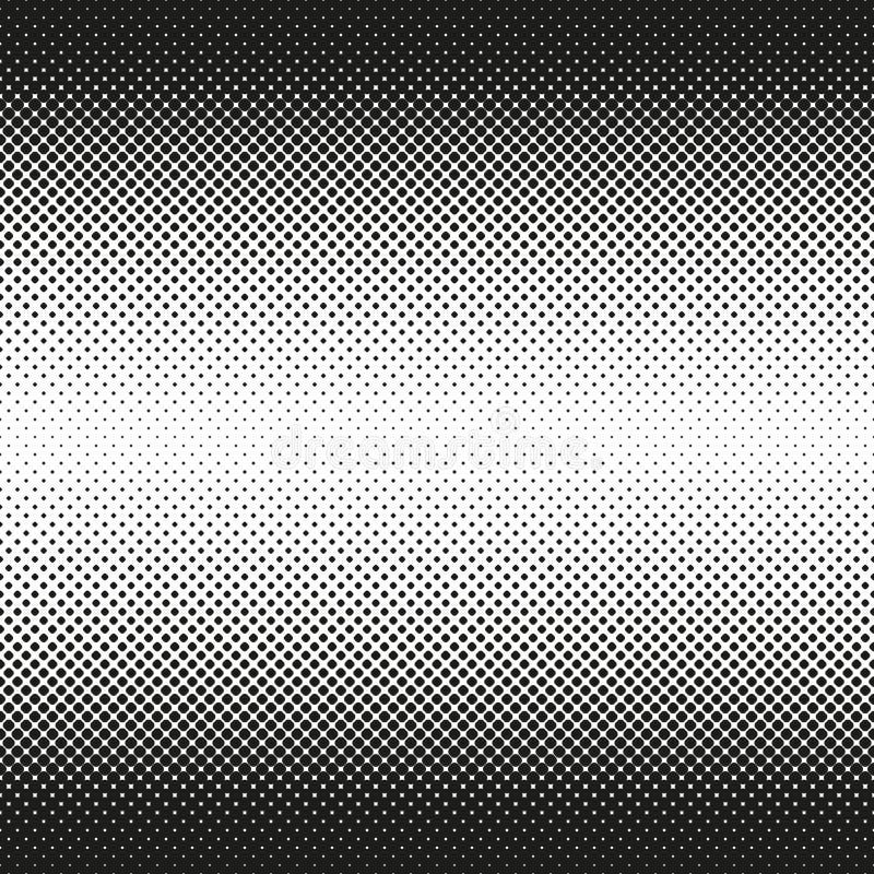 L'image tramée sans couture horizontale des places arrondies diminue au centre, sur le blanc Fond tramé Contrasty Vecteur illustration libre de droits