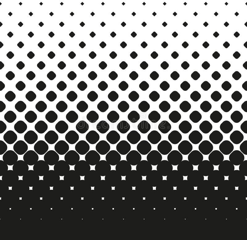 L'image tramée sans couture horizontale du grand noir a arrondi des diminutions de places, sur le blanc Fond tramé Contrasty Vect illustration libre de droits