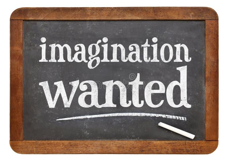 L'imagination a voulu le signe de tableau noir images stock
