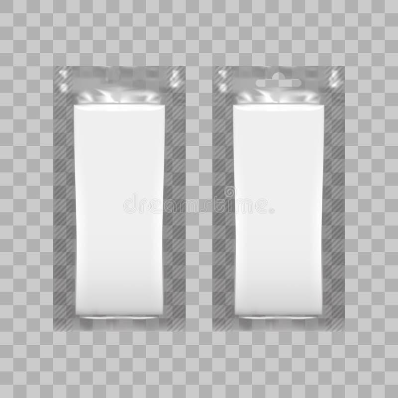 L'imballaggio plastico in bianco per la carta velina o ha bagnato la strofinata illustrazione vettoriale