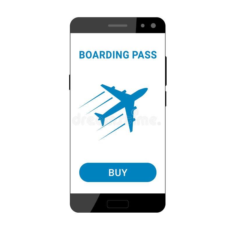 L'imbarco passa sopra lo smartphone royalty illustrazione gratis