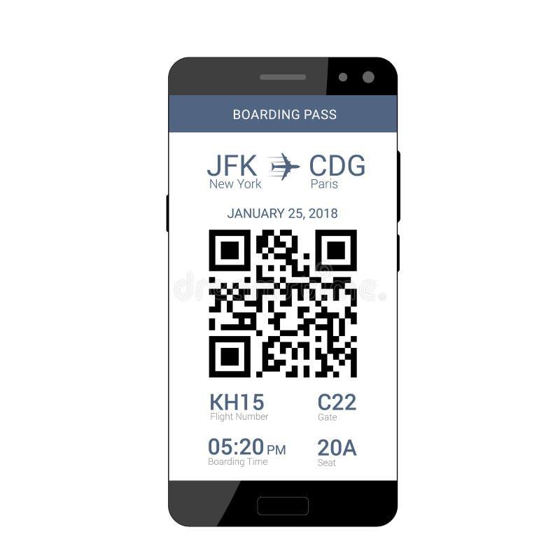 L'imbarco passa sopra lo smartphone illustrazione vettoriale