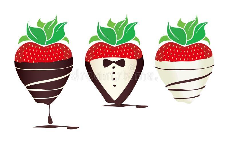 L'immaginazione Cioccolato-ha tuffato Strawbe royalty illustrazione gratis
